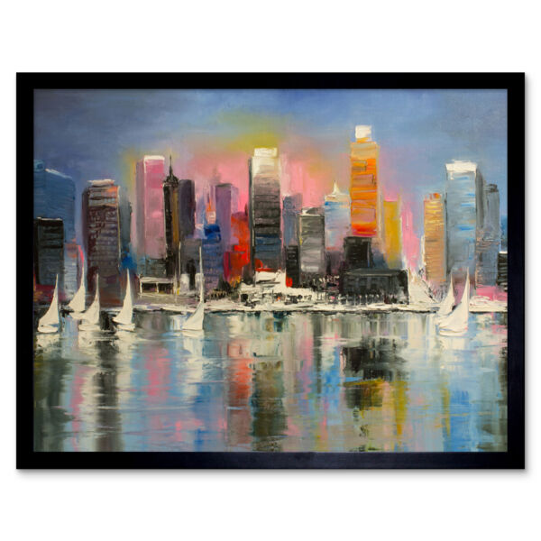Royaume-UniCity Harbour Urban Painting 12X16 Inch Framed Art Print