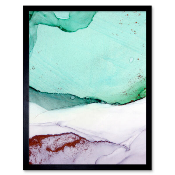 Royaume-UniAbstract Paint With Green Copper 12X16 Inch Framed Art Print