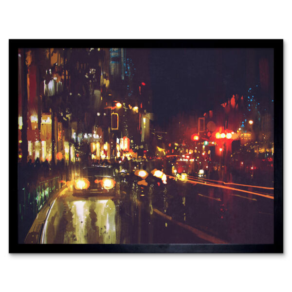 Royaume-UniCityscape At Night 12X16 Inch Framed Art Print