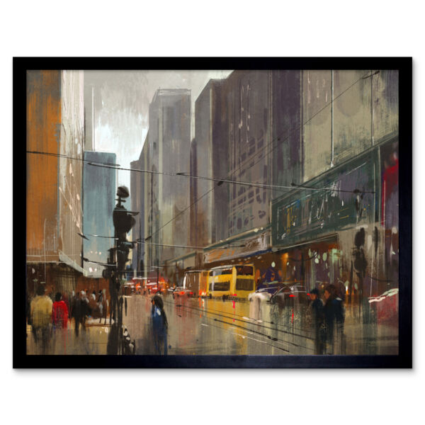 Royaume-UniAsian Cityscape Painting 12X16 Inch Framed Art Print