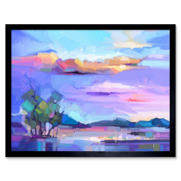 Royaume-UniAbstract Sunset On Meadow 12X16 Inch Framed Art Print