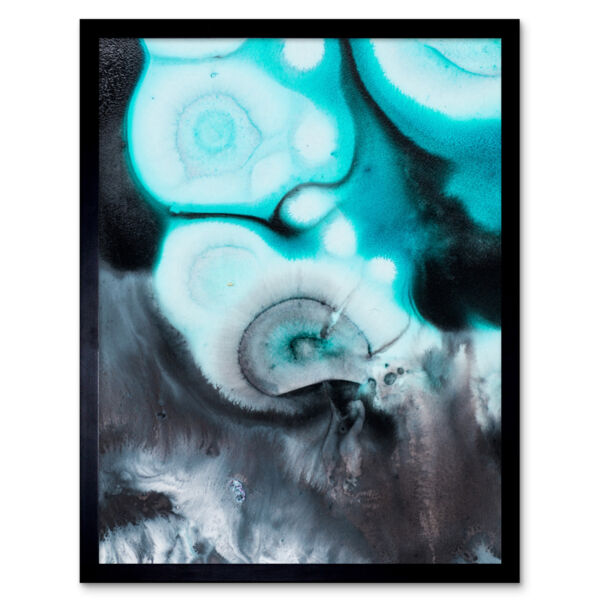 Royaume-UniAbstract Paint Swirl  Grey Framed Wall Art Print 9x7