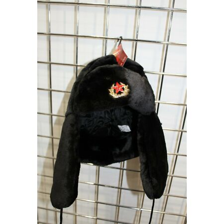 img-Russian Trapper Hat Cap With Soviet Badge Faux Fur Ushanka Cossack Flaps Hat