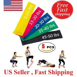 5 Resistance Loop Bands Set Strength fitness Gym exercise Yoga workout Pull Up