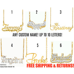 Kyпить Personalized FINE Sterling Silver 14K Gold ANY Name Plate Necklace + Free Chain  на еВаy.соm