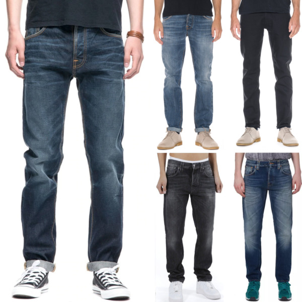 AllemagneNudie Homme Regular Tapered Fit Bio Denim Pantalon Jeans - Neuf Avec Petit