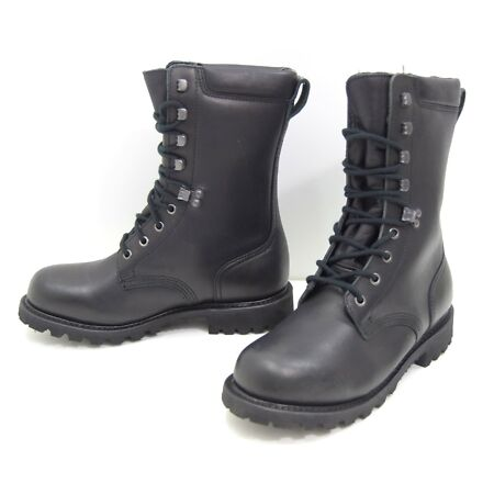 img-French Army Black Leather Boots Waterproof Para Paratorooper Combat Boot NEW