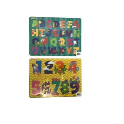 Set of 2 Puzzles. Alphabets and Numbers. 10 x 7 inches. Kids early development
