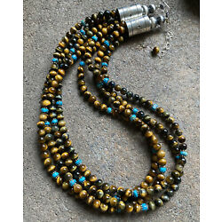 Kyпить Sterling Silver Multi Strand Tiger's Eye with Turquoise Bead Necklace. 20 Inch. на еВаy.соm