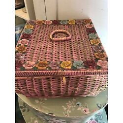 Kyпить Rare vintage Barbola sewing basket! dark pink with roses!! super cute! на еВаy.соm