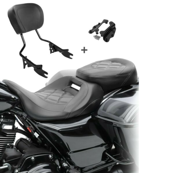AllemagneSella Set per Harley Road King Classic 14-19 + Sissybar+ kit montaggio S-AB1