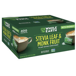 Whole Earth Stevia Leaf and Monk Fruit Sweetener Packets, 400-count