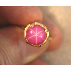 Kyпить Pink Star Sapphire Ring - 14k Yellow Gold Size 6 - Synthetic 4.72 Carat Sapphire на еВаy.соm