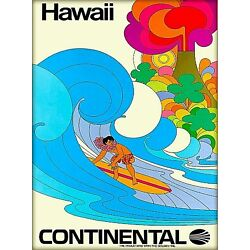 Kyпить Hawaii Continental Surf United States Vintage Airline Travel Art Poster Print на еВаy.соm