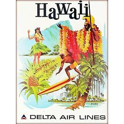 Kyпить Hawaii Delta Air Lines United States Vintage Travel Advertisement Poster Print на еВаy.соm