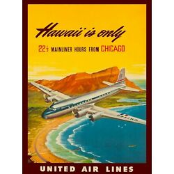 Kyпить Hawaii from Chicago United States America Travel Advertisement Art Poster на еВаy.соm