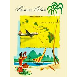 Kyпить Hawaii Hawaiian Airlines Map United States America Travel Advertisement Poster на еВаy.соm