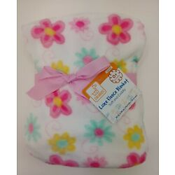 Kyпить Swiggles Baby Blanket Flowers on white background Luxe Soft Fleece 30