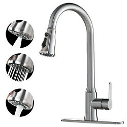 Kyпить Kitchen Faucet Brushed Nickel Sink Tap Single Handle Pull Down Sprayer Sweep NEW на еВаy.соm