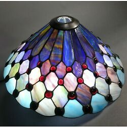 Kyпить Vintage Tiffany Style Stained Glass Jeweled Lampshade 17