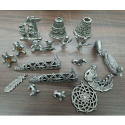 Kyпить Sunglo Pewter Figurines Vintage Animals, Bell, Dream Catcher Etc (Lot Of 19) на еВаy.соm