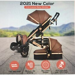 Kyпить 3 in 1  Foldable Pushchair Luxury Newborn Baby Stroller - Brown - Leather на еВаy.соm