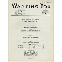 Kyпить HAMMERSTEIN & ROMBERG Sheet Music WANTING YOU from THE NEW MOON 1928 Piano Vocal на еВаy.соm