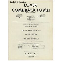 Kyпить HAMMERSTEIN & ROMBERG Sheet Music LOVER COME BACK TO ME from THE NEW MOON 1928 на еВаy.соm