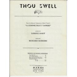 Kyпить RODGERS & HART Sheet Music THOU SWELL from CONNECTICUT YANKEE 1927 Piano Vocal на еВаy.соm