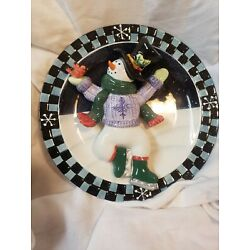 Ganz 3D Figural Ice Skating Snowman Decorative Wall Plate Winter Christmas