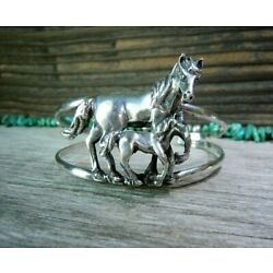 Kyпить  Exceptional 3-D Horse + Colt Foal Cuff Bracelet in Sterling Silver 2-Rail  на еВаy.соm
