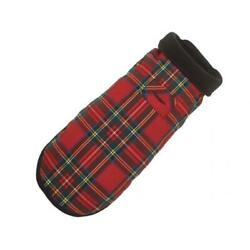 Up Country Red Plaid Fleece Lined Dog Coat - Size 16