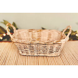 Small Double Handled Nesting Basket- Farmhouse Primitive White w/ Gold Accent