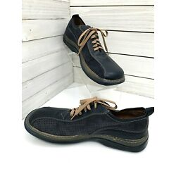 New Alfani Suede Leather Blue Mens Casual Shoes Size 7M Replay Italy Tie Laces