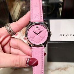 Kyпить With Box~ Gucci G-Timeless Series Lady Pink Dial Leather Strap Womens 38mm Watch на еВаy.соm