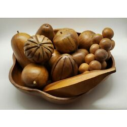 Kyпить Wooden Fruit and Bowl 12 Pieces and Bowl Mid Century Modern Decor на еВаy.соm