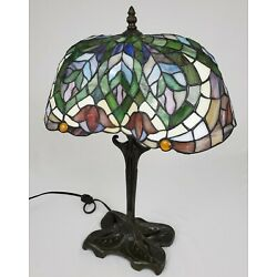 Kyпить Vintage Tiffany Style Stained Glass Lamp Tulip Design Jeweled Art Nouveau 21