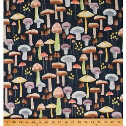 Cotton Mushrooms Food Toadstools Mellow Fabric Print by the Yard D469.24