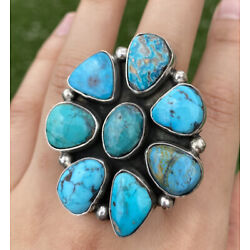 Kyпить Native American Sterling Silver Turquoise Cluster Adjustable Ring. CY на еВаy.соm