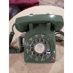 Kyпить Vintage Rotary Dial ITT Avocado Green Desk Telephone Land Line Red Button на еВаy.соm