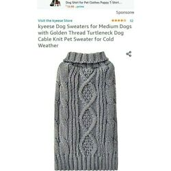 KYEESE Dog Turtleneck Cable Knit Sweater GOLD THREAD  Leash Hole SzL - GrayB74