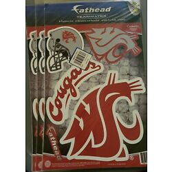 Set of 3 Packs! Fathead Washington State University Cougars Decals. PRead