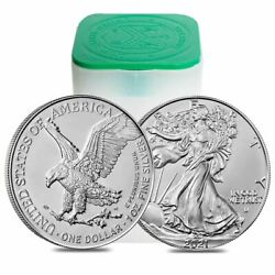 Roll of 20 - 2021 1 oz Silver American Eagle $1 Coin BU Type 2 (Lot, Tube of 20)
