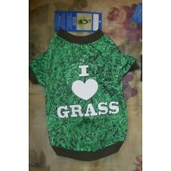 Casual Canine S/M Dog Outfit Green Photo-Real I Heart Grass Tank Tee