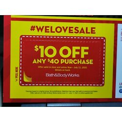 Kyпить Bundle of 5~Bath & Body Works~$10 off $40~Expires 7/11/21~EMAIL Codes Only на еВаy.соm