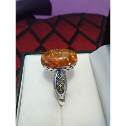 Kyпить Artisan Crafted Baltic Amber Ring in Sterling Silver  на еВаy.соm