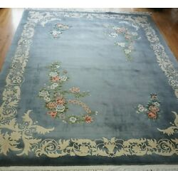 Kyпить EXCELLENT CHINESE FLORAL HAND KNOTTED WOOL ORIENTAL RUG HAND-WASHED 9 x 12  на еВаy.соm