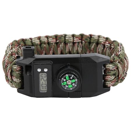 img-Outdoor Survival Parachute Cord Bracelet Compass Whistle Stainless Steel Knife
