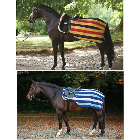 img-Horseware Rambo Newmarket COMPETITION Exercise Fleece Rug Sheet Gold/Navy S-XL