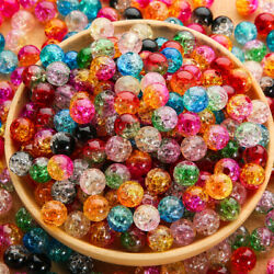 50pcs Popular Fine Mix Color Bead Round Resin Loose Bead DIY For Girl And Woman